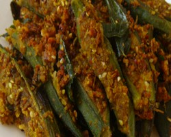 Microwave Stuffed Bhindi Recipe