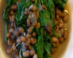 Spinach With Black Eyed Peas | Indian Vegetarian Recipes | Indian Regional Recipes | Indian Food Recipes | Indian Microwave Recipes | Diabetic Recipes